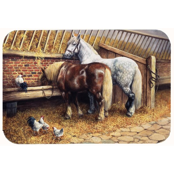 Horses Eating with the Chickens Bath Rug