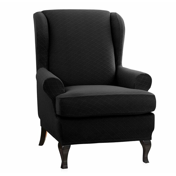 Check Price Super Stretch T-Cushion Wingback Slipcover