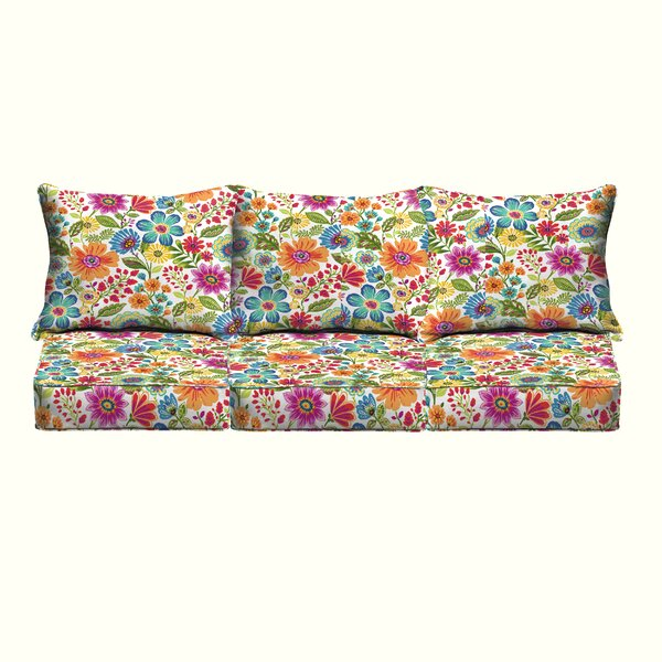 Paxton Floral Piped Indoor/Outdoor Sofa Cushion by Andover Mills