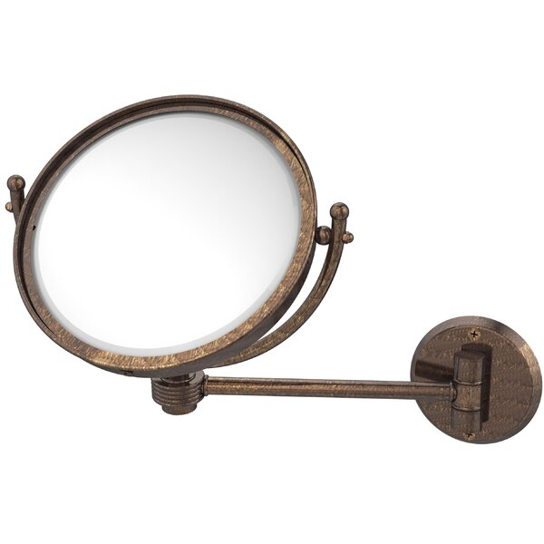 Wall Mounted Make-Up 5X Magnification Mirror with Groovy Detail by Allied Brass