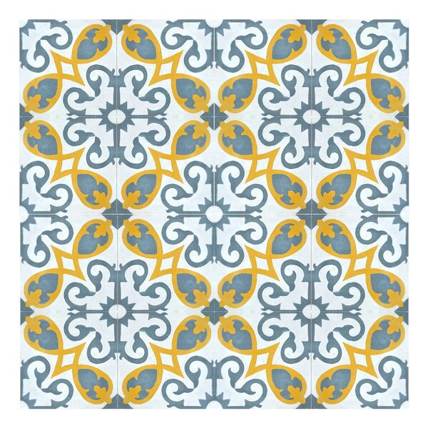 Agadir 8 x 8 Handmade Cement Tile in Gray/Yellow by Moroccan Mosaic