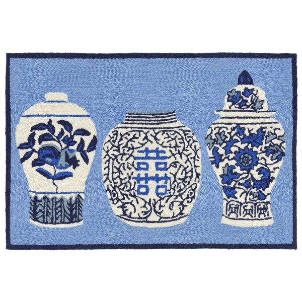 Ardelle Ginger Jars Handmade Blue Indoor/Outdoor Area Rug by Bloomsbury Market