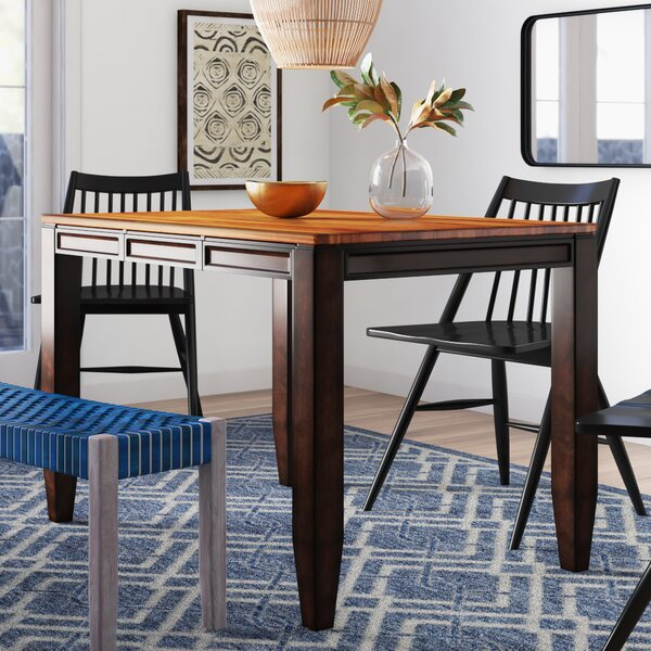 Hidalgo Counter Height Solid Wood Dining Table by Millwood Pines