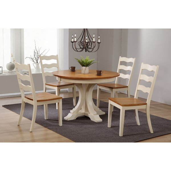 Dessert Deco Antiqued Transitional Ladder Back 5 Piece Extendable Dining Set by August Grove