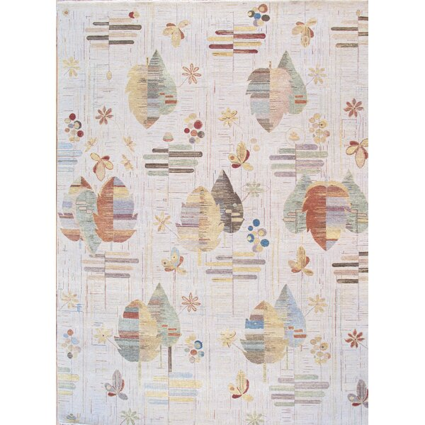 Modern Hand-Knotted Beige Area Rug by Pasargad