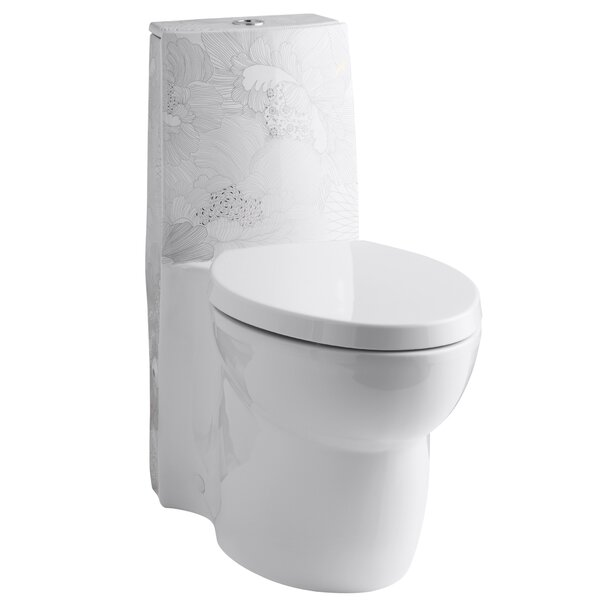 Empress Bouquet Design On Saile One-Piece Elongated Dual-Flush Skirted Toilet with Top Actuator and Saile Quiet-Close Toilet Seat with Quick-Release Functionality by Kohler