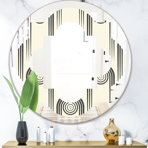 Quatrefoil Curved Minimal Geometric Ornament II Modern Frameless Wall Mirror