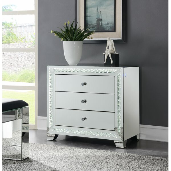 Terhune 3 Drawer Mirrored Accent Chest