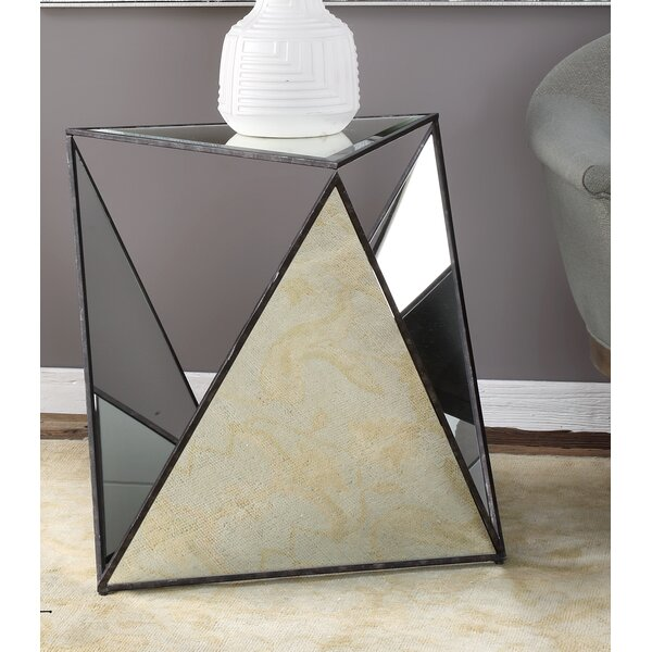 Smiley Tripod Mirrored End Table by Everly Quinn
