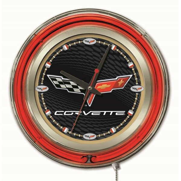 Corvette - C6 15 Double Neon Ring Logo Wall Clock by Holland Bar Stool