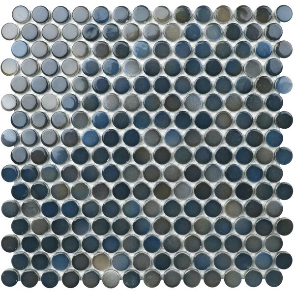 Value Series Penny 0.8 x 0.8 Porcelain Mosaic Tile in Glossy Blue/Gray by WS Tiles
