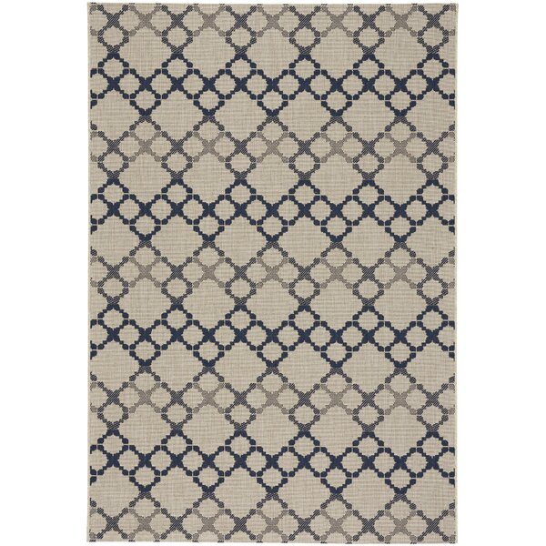 Olmead Blue/Beige Indoor/Outdoor Area Rug by Breakwater Bay
