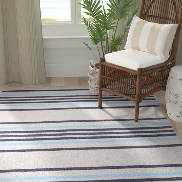 Adalberto Stripe Beige/Navy Indoor/Outdoor Area Rug by Highland Dunes