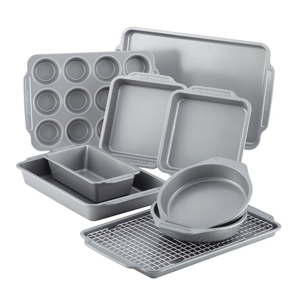 Non-Stick 10 Piece Bakeware Set with Cooling Rack by Farberware