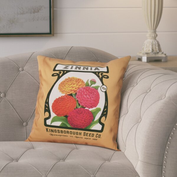 Swan Valley Zinnia Floral Outdoor Throw Pillow by August Grove
