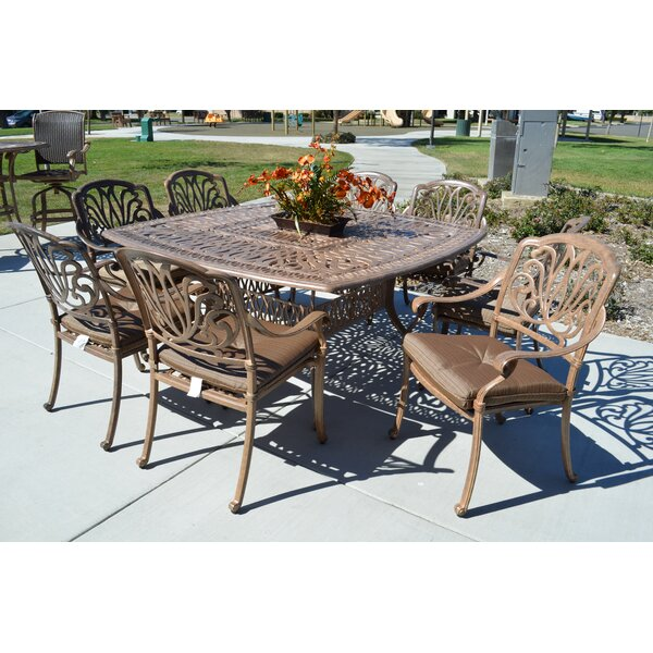 Kristy 9 Piece Dining Set with Cushions by Darby Home Co