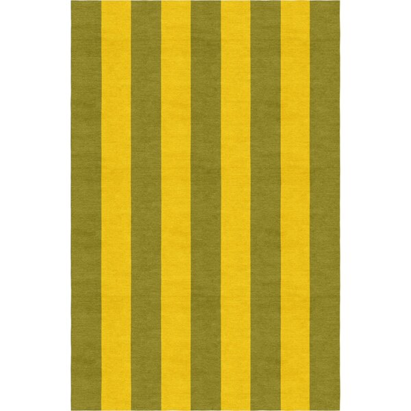 Reddish Stripe Hand-Woven Wool Olive/Gold Area Rug by Red Barrel Studio