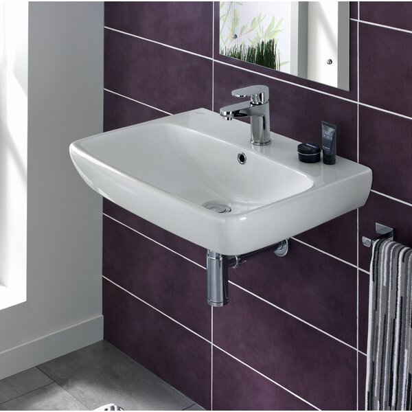 Energy Ceramic 24 Wall Mount Bathroom Sink with Overflow by Bissonnet