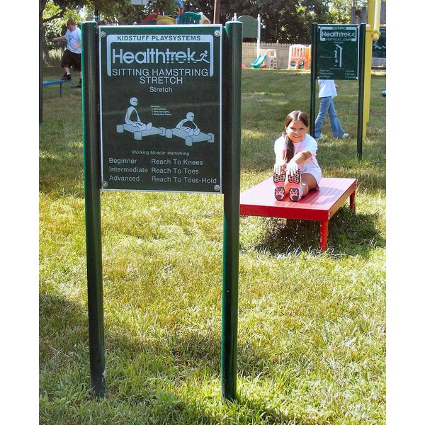 Sitting Hamstring Stretch Bench and Sign by Kidstuff Playsystems, Inc.