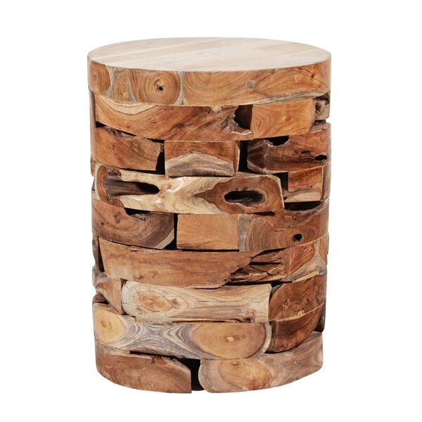 Round Teak Block Stool by Ibolili