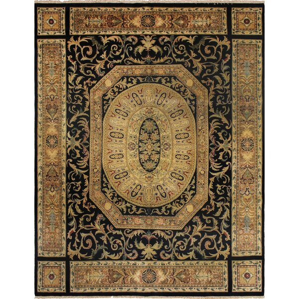 Clearman Hand Knotted Rectangle Wool Navy/Beige Area Rug by Astoria Grand