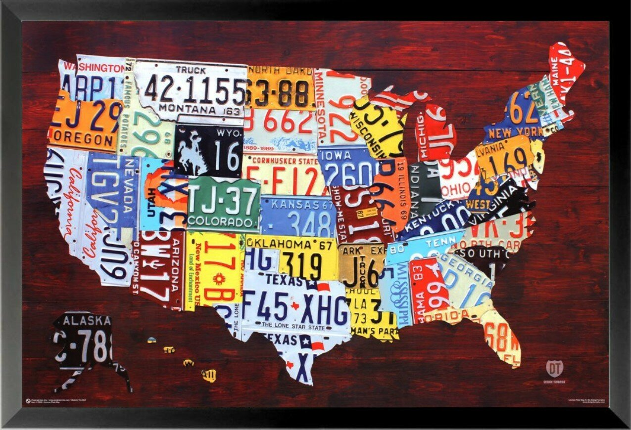 Buy Art For Less United States License Plate Map Pop Art Rustic ...