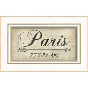 Paris 778Km Framed Textual Art by The Artwork Factory