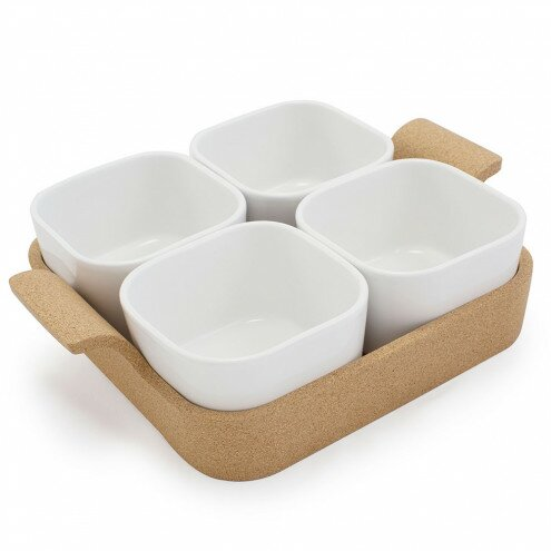 Square Ensemble Ramekins with Cork Tray 5 Piece Set by VivaTerra