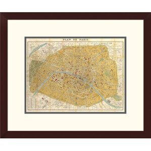 Gilded map graphic art wayfair gilded map of paris by joannoo framed graphic art sciox Images