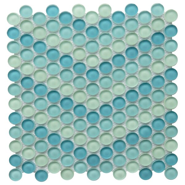 Carbonia 1 x 1 Glass Mosaic Tile in Blue by NovoTileStudio