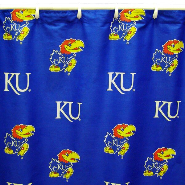 NCAA Kansas Cotton Printed Shower Curtain by College Covers