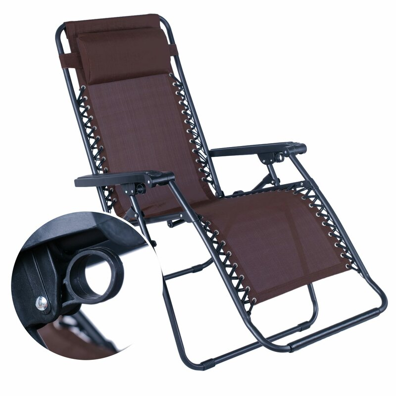 Swint Reclining Folding Zero Gravity Chair With Cushion