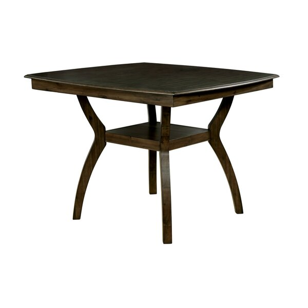 Quickep Transitional Counter Height Solid Wood Dining Table by Loon Peak