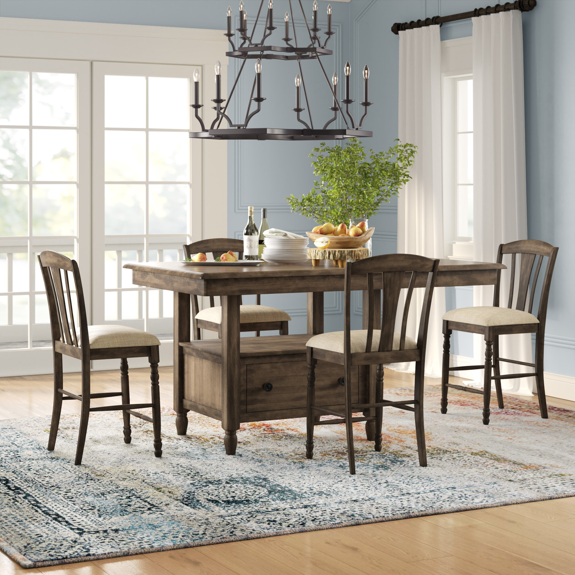 finest selection ad859 24c77 Perez 5 Piece Solid Wood Breakfast Nook Dining Set
