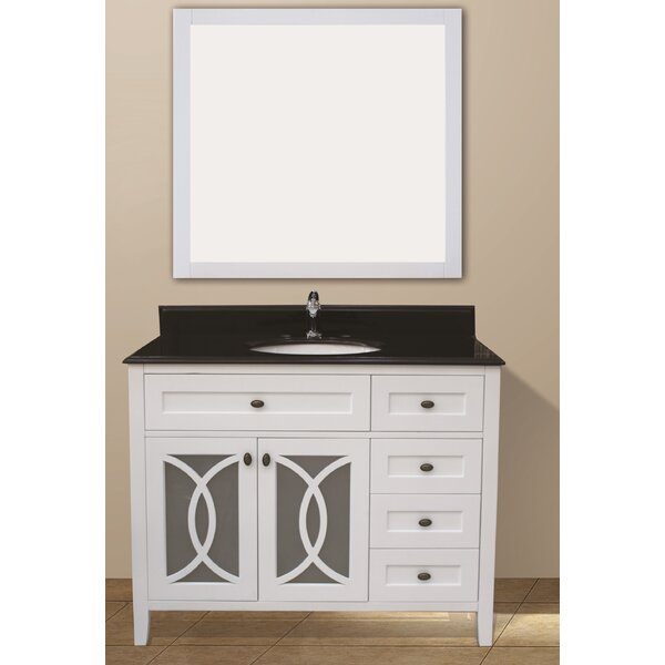 Margaret Garden 43 Single Bathroom Vanity Set with Mirror by NGY Stone & Cabinet