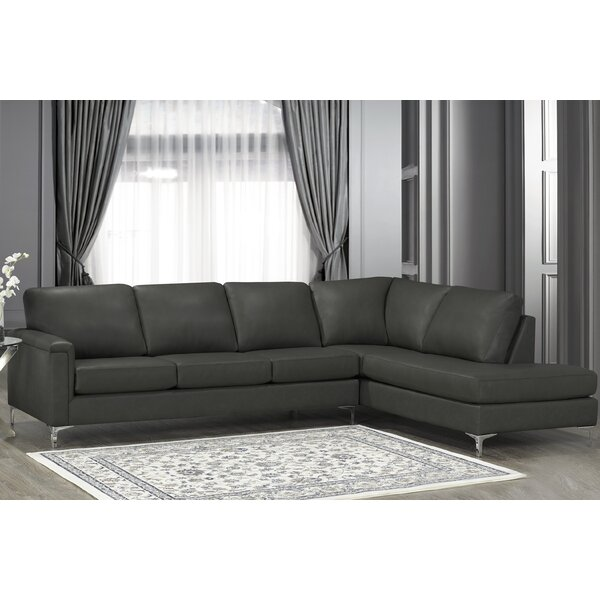 Platte Premium Top Grain Italian Leather Right Hand Facing Sectional by Orren Ellis