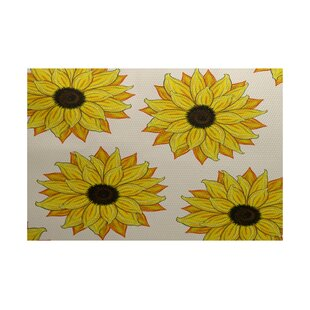 Guide to buy Laniel Sunflower Power Flower Print Yellow Indoor/Outdoor Area Rug ByAugust Grove
