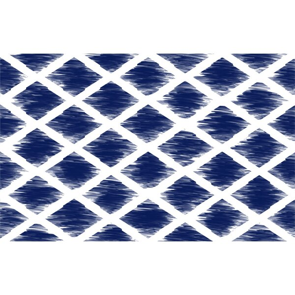 Diamonds Navy Area Rug by Manual Woodworkers & Weavers