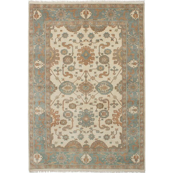 One-of-a-Kind Abagail Royal Ushak Hand-Knotted Wool Cream/Gray Area Rug by Isabelline