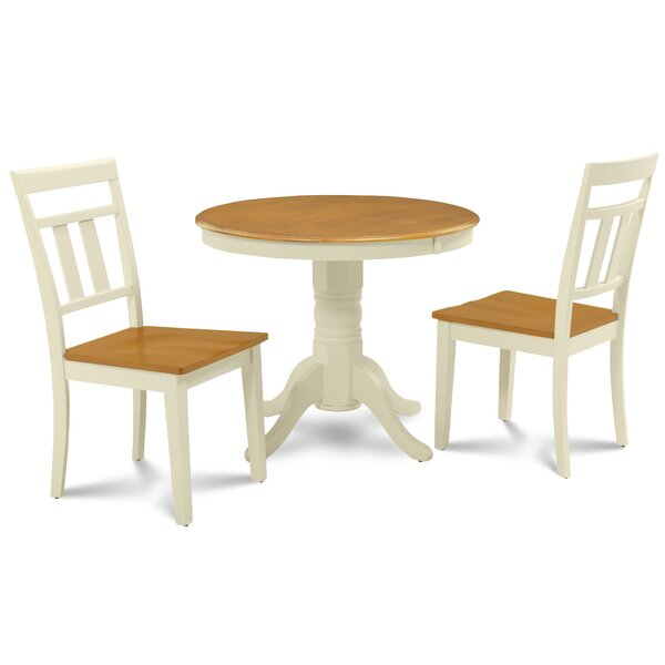 Dahlquist 3 Piece Solid Wood Dining Set by August Grove