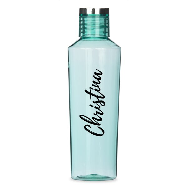 Stapler Personalized Calligraphy Print 27 oz. Plastic Water Bottle - by Ebern Designs