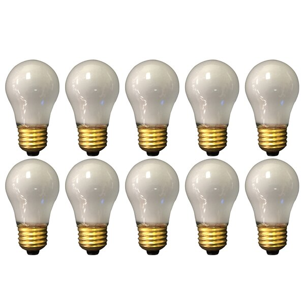 15W Frosted E26 Medium Incandescent Light Bulb (Set of 10) by Royal Designs