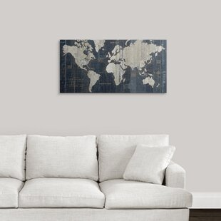 old world map blue graphic art print