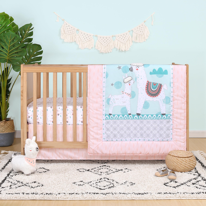 Nicky Llama Love 4 Piece Crib Bedding Set