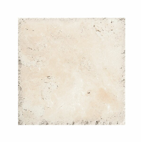 Classic 18 x 18 Travertine Field Tile in Ivory Chiseled Brushed by Parvatile