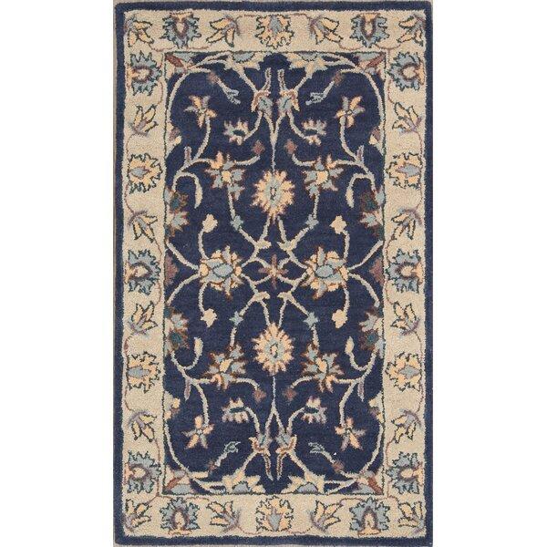 Halo Kashan Agra Persian Style Oriental Hand-Tufted Wool Beige/Blue Area Rug by Bloomsbury Market