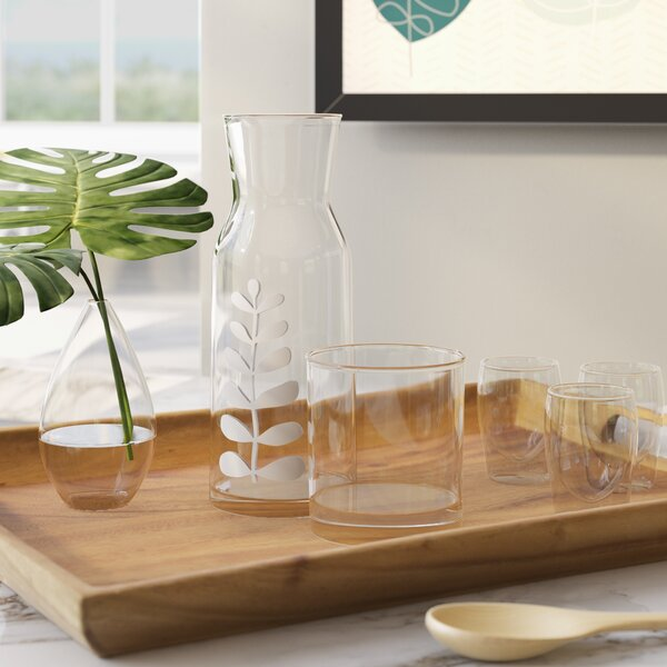Evelita 2-Piece Leaf Stem Carafe Set by Langley Street
