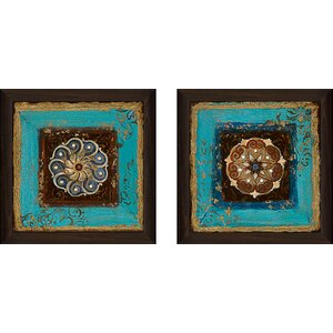Exotic Medallion II' 2 Piece Framed Acrylic Painting Print Set Under Glass by World Menagerie
