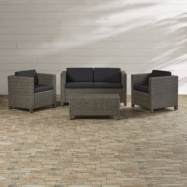 Kappa 4 Piece Rattan Sofa Set with Cushions by Mer