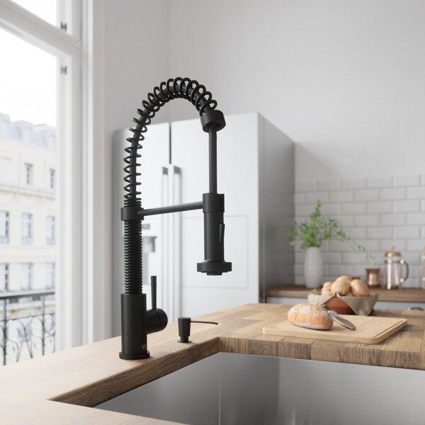Edison Pull-Down Single Handle Kitchen Faucet With Soap Dispenser by VIGO